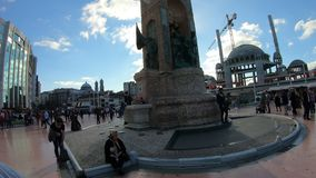 Hyperlapse around Independence Monument and Ataturk statue in Taksim Square in Istanbul Turkey stock video footage