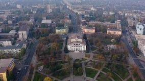 Hyperlapse City park aerial view. Mariupol Ukraine.  stock footage