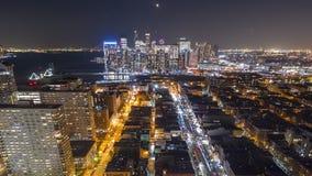 Hyperlapse de la noche sobre Hoboken, NJ almacen de metraje de vídeo