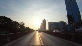 Hyperlapse de time lapse de Point of View a través del camino por la mañana, Bangkok, Tailandia metrajes