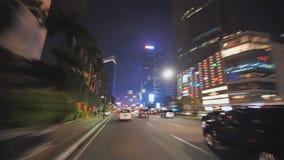 Hyperlapse en los caminos de la ciudad de Jakarta en la noche indonesia almacen de metraje de vídeo