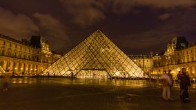 Hyperlapse louvre museum stock video footage