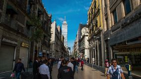 Hyperlapse Madero street in Mexico City. Hyperlapse Madero street downtown Mexico City. People walking in one of the most representative streets in Mexico. In stock video footage