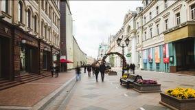 Hyperlapse moscow berömd turist- gata som flyttar den röda fyrkanten lager videofilmer