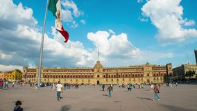 Hyperlapse of National Palace of Mexico. Hyperlapse of National Palace of Mexico in shiny day, the flag flutters. Is one of the most important historic stock video footage