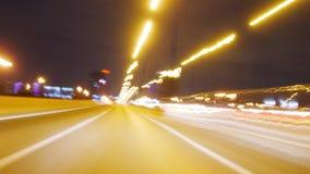 Hyperlapse Night City Traffic Motion Blurs on high way