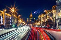 Hyperlapse Russia Moscow Mayakovskaya. Urban night vehicle traffic Moscow Hyperlapse