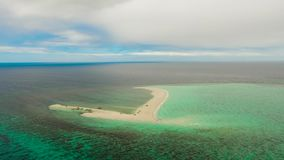 Timelapse :Tropical island with sandy beach, Camiguin, Philippines. Hyperlapse: Sandy white island with beach and sandy bar in the turquoise atoll water, Time stock video
