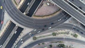 Hyperlapse timelapse在城市交通圈子转动在4方式中止街道交叉点圈子环形交通枢纽的在曼谷,泰国 4K 影视素材