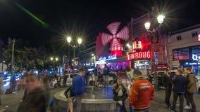 Hyperlapse timelapse ночи румян Moulin Франция paris сток-видео