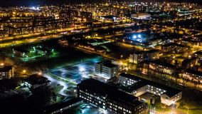 Hyperlapse timelapse of night city traffic on streets. Aerial view. Amazing aerial timelapse footage. Night city with traffic. Cars, roads, buildings stock video