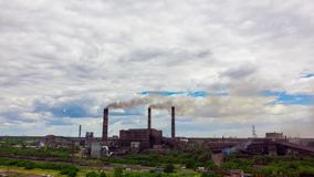 Hyperlapse. Urban landscape smoked polluted atmosphere from emissions of plants and factories, view of pipes with smoke. Timelapse. Urban landscape smoked stock footage