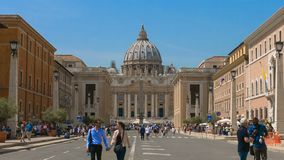 Hyperlapse of The Vatican, St. Peter`s Basilica, Basilica of Saint Peter, City view of Rome, Roma, Italy. City view of Rome, Roma, Italy, Landmark, monument, art stock video footage