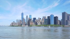 Hyperlapse video av Lower Manhattanhorisont stock video
