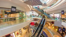 Hyperlapse video of a busy shopping mall stock video footage