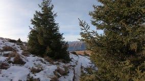 Hyperlapse walking at Monte Pora area in winter dry season. Orobie alps, Bergamo, Lombardy, Italy. Hyperlapse walking at Monte Pora area in a winter dry season stock video footage