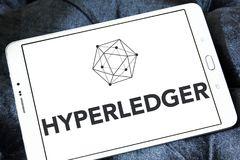 Hyperledger logo. Logo of Hyperledger on samsung tablet. Hyperledger is an umbrella project of open source blockchains and related tools started in December 2015 Stock Image