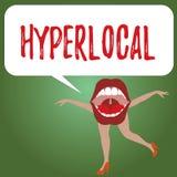 Hyperlocal handskrifttext Begreppsbetydelse om att angå en liten gemenskap eller ett geografiskt område stock illustrationer
