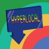 Hyperlocal textteckenuppvisning Begreppsmässigt foto om att angå en liten gemenskap eller ett geografiskt område vektor illustrationer