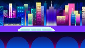 Hyperloop concept. Night neon city in synthwave style. New York urban background with colorful gradients royalty free illustration