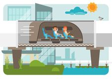 Hyperloop scene illustration. Hyperloop illustration on cityscape background with two passengers - male and female Royalty Free Stock Photos