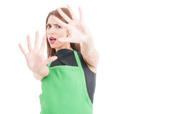 Hypermarket employee screaming and looking scared. Of something isolated on white background with copyspace Royalty Free Stock Photos