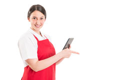 Hypermarket female worker Stock Photo