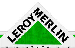 Hypermarket LeroyMerlin - pediment with logo. MOSCOW REGION, MITISCHI, RUSSIA - September 08:  Hypermarket's pediment with Leroy Merlin logo. According to Royalty Free Stock Image