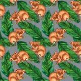 Hyperrealistic природа тропиков Азии - более tarsier и листьев ладони, серых стоковое фото rf