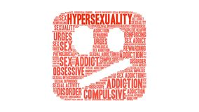 Hypersexuality Animated Word Cloud. On a white background royalty free illustration