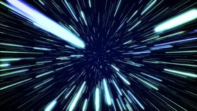 Hyperspace jump through the stars to a distant space. Speed of light, neon rays. Hyperspace jump through the stars to a distant space. Speed of light, neon stock photo