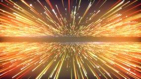Hypersprongvlucht in ruimte Computer geproduceerde achtergrond Oranje gloeiende sterren 3D geef Lijnanimatie terug 4k, UHD vector illustratie