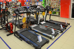 Hyperstar Supermarket, Emporium Mall, Lahore, Pakistan. Gym materials on sale in Hyperstar Lahore on 6th May 2017 Stock Images