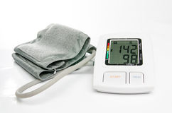 Hypertension digital blood pressure monitor Royalty Free Stock Image