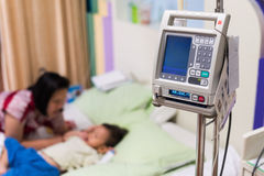 Hypertension monitor and IV needle machine Stock Photos