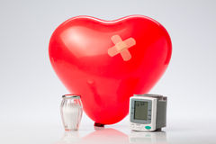 Hypertension, red balloon heart Royalty Free Stock Images