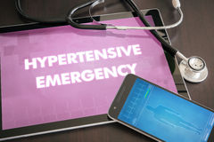 Hypertensive emergency (heart disorder) diagnosis medical concept on tablet screen with stethoscope.  royalty free stock image