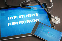 Hypertensive nephropathy (heart disorder) diagnosis medical concept on tablet screen with stethoscope.  stock image