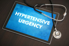 Hypertensive urgency (heart disorder) diagnosis medical concept. On tablet screen with stethoscope royalty free stock photo