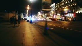 Hypertijdspanne De straat van de nacht stock video
