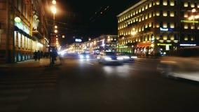 Hypertijdspanne De straat van de nacht stock videobeelden