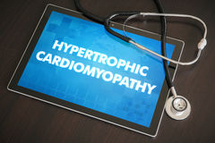 Hypertrophic cardiomyopathy (heart disorder) diagnosis medical c. Oncept on tablet screen with stethoscope royalty free stock image