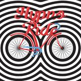 Hypno Ride - hand lettering with bicycle and concentric circles. Apparel, t-shirt design hipster print royalty free illustration