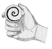 Hypnosis. Pencil drawn sketch of a hand with a hypnotizing spiral on a small disc Stock Photography