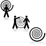Hypnosis. Icon set showing a man being hypnotized, another hypnotizing someone and a clock with a hypnosis spiral around it vector illustration