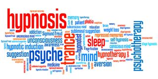 Hypnosis. Issues and concepts word cloud illustration. Word collage concept royalty free illustration