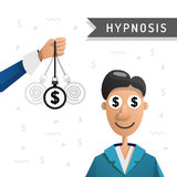 Hypnosis man money Royalty Free Stock Images