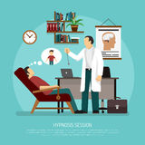 Hypnosis Session Vector Illustration. Flat vector illustration of medical room with patient relaxing in chair and psychologist performing hypnosis session royalty free illustration