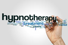 Hypnotherapy word cloud. Concept on grey background royalty free stock photography