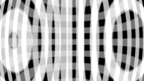 Hypnotic animation of twinkling white circles and wide arcuate lines on black background, seamless loop. Monochrome stock illustration